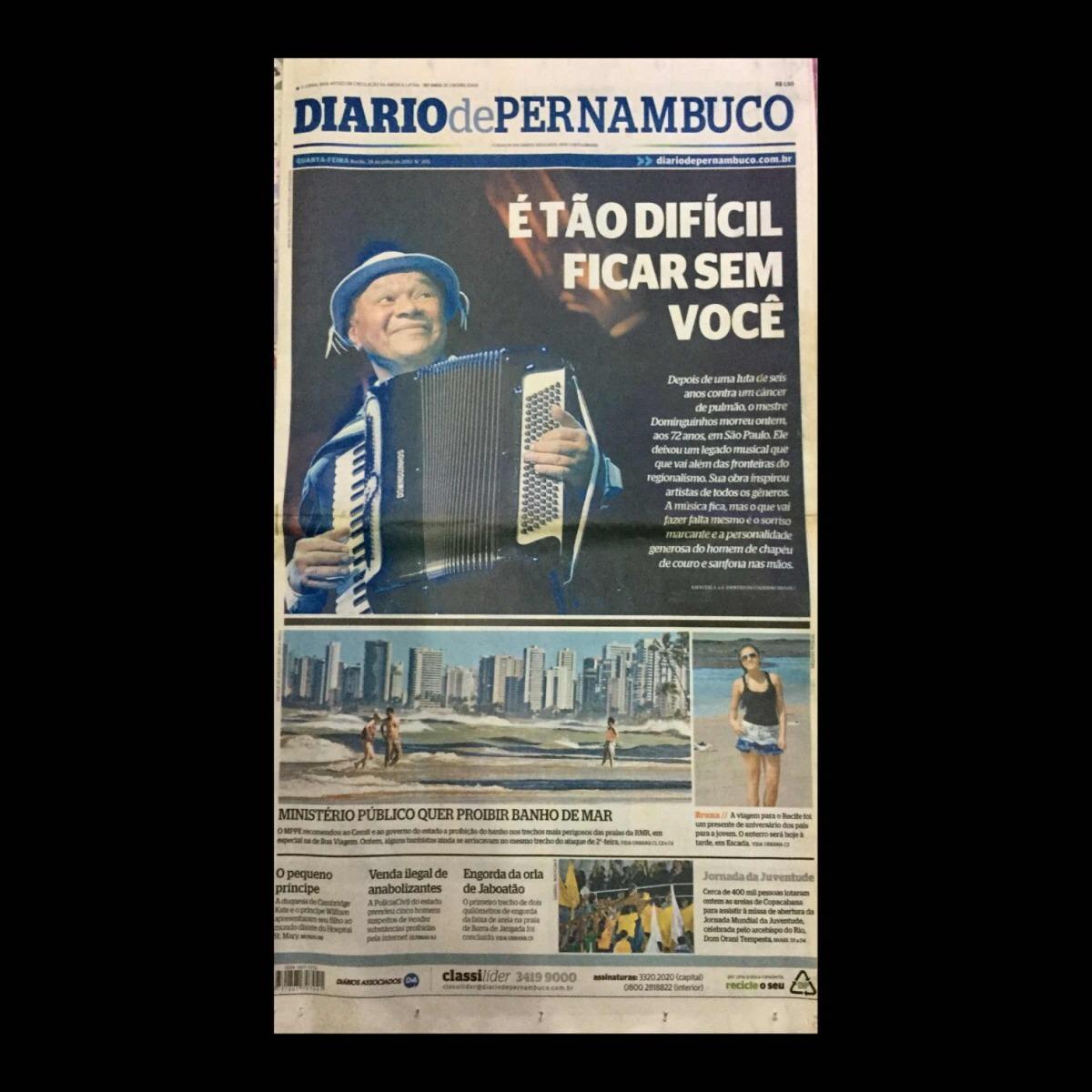6be418203f Dominguinhos Jornal Diário De Pe Edição De 24/07/2013 - R$ 177,00 em ...