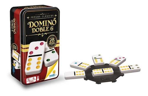 domino doble 6 de ronda caja metálica 28 fichas