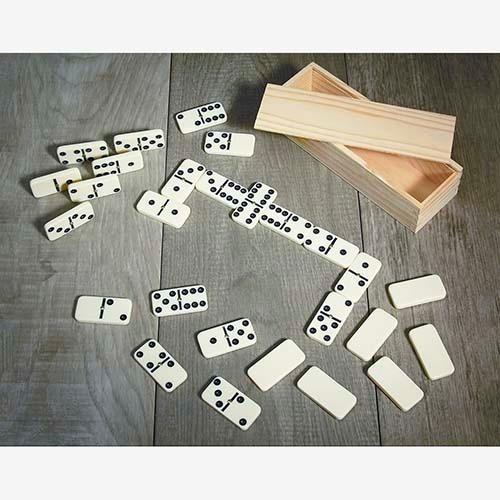 domino estuche de madera 28 piezas plástico