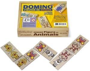 dominó figuras de animais 28 pçs cx madeira - 2675