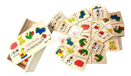 domino infantil de madera juego didactico animales frutas