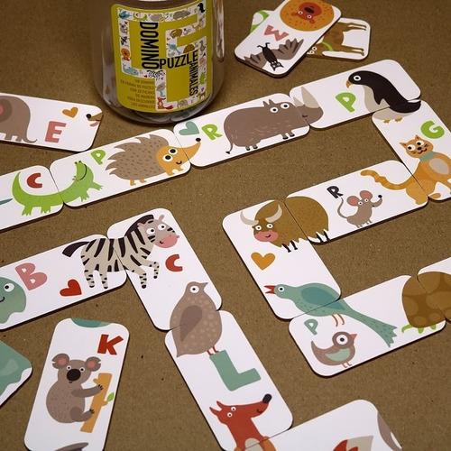 domino puzzle juego didáctico fichas de madera