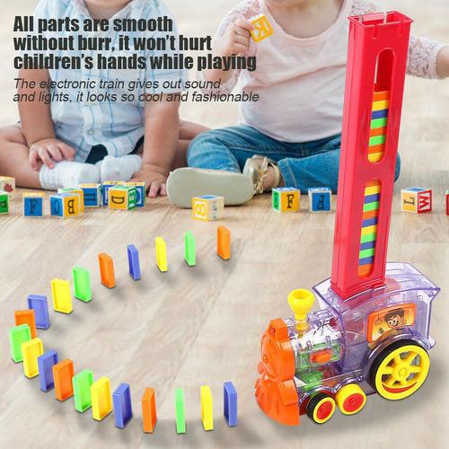 domino rall tren electrónico modelo niños colorido juguete c