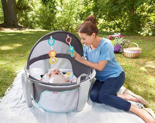 domo moises cuna portatil para bebe bambineto fisher price niño plegable con techito y 2 figuras de juguete 0 a 12 meses