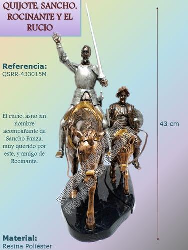 don quijote, rocinante, sancho panza y rucio - figura resina