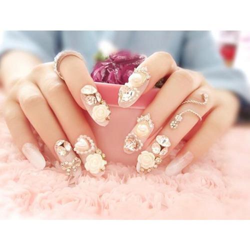 dongcrystal 24 unid 3d uñas postizas bling glitter fake f