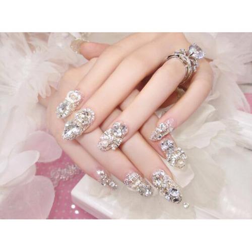 dongcrystal 24 unid 3d uñas postizas bling glitter fake p