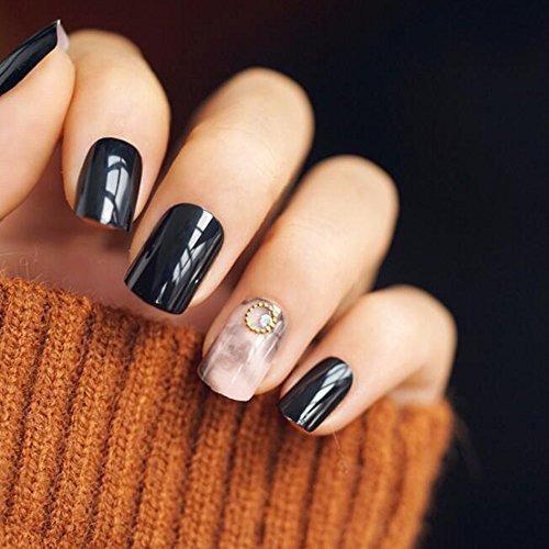 dongcrystal 24pcs negro textura brillante uñas postizas per