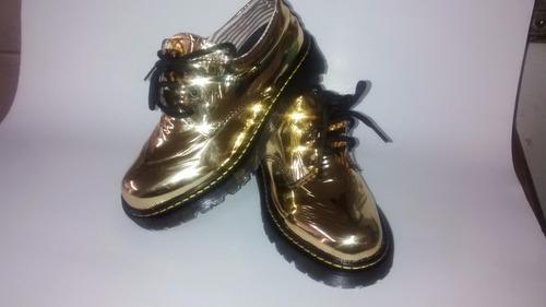 dorados, zapato dorado, calzado dorado , dr fortuna