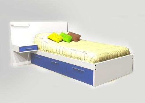 dormitorio jovenes cama mesa de luz respaldo cajonera