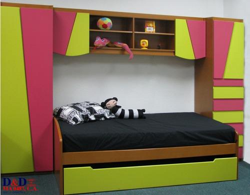 dormitorio juvenil - biblioteca con iluminación - closet