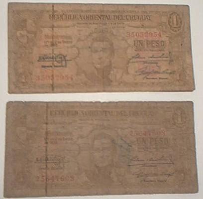 dos antiguos billetes uruguayos de un peso m/n