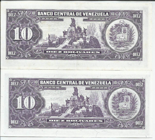dos billetes 10 bolívares. noviembre 3 1988 serial f-8 y g-8