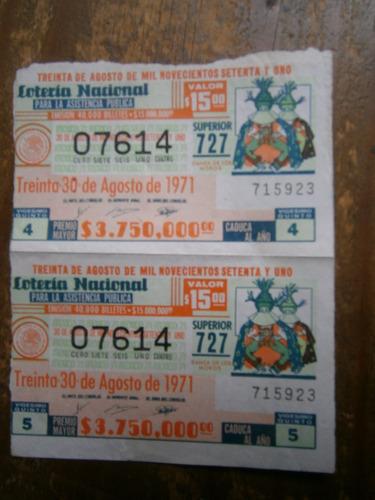 dos billetes de loteria nacional mexico 30 de agosto de 1971