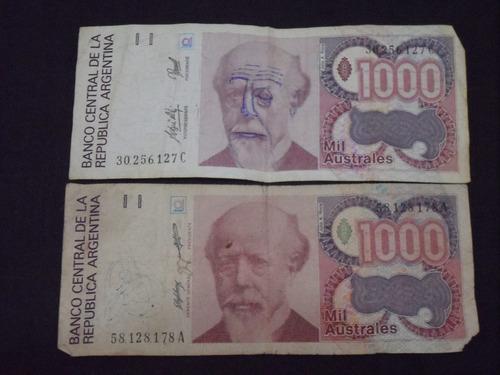 dos billetes de mil australes