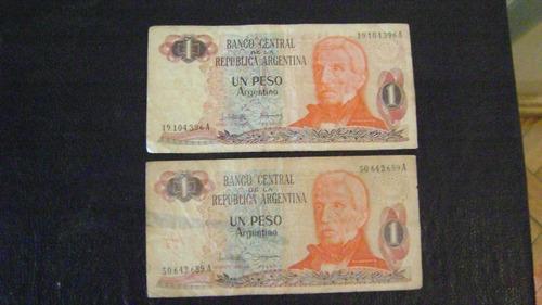 dos billetes de un peso argentino serie 3.4