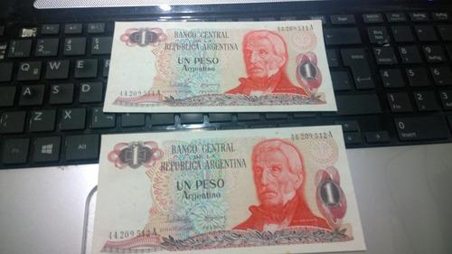 dos billetes un peso argentino serie a correlativos#003 nvo
