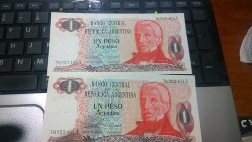 dos billetes un peso argentino serie  correlativos#002 nvo