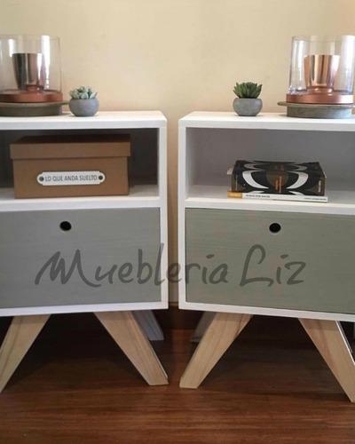 dos buros  diseño retro vintage nórdico blanco-gris