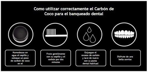 dos carbon activo de coco blanqueador dental blanqueamiento