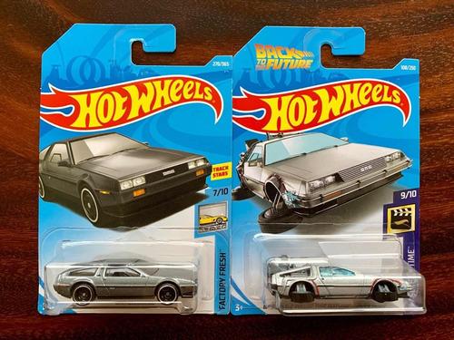 dos carros hot wheels 1/64 dmc delorean &  volver al futuro