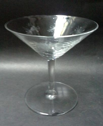 dos copas para martini cristal años 50 tallado átomos