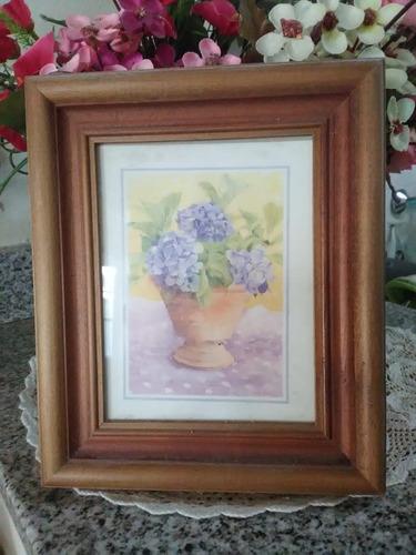 dos cuadros con flores marco madera (medianos)