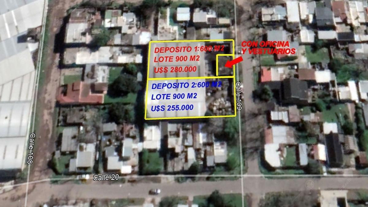 dos depositos de 600 m2 c/u  industrial en venta berazategui zona sur