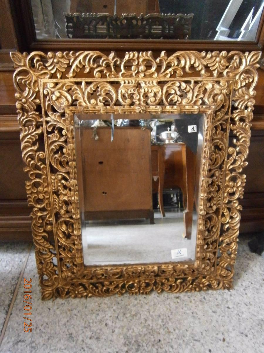 Dos espejos antiguos madera y cristal de roca precio x c u for Espejos de pie precios