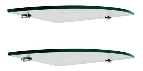 dos estantes esquinero vidrio 5mm  25x25 c/soporte niquelado
