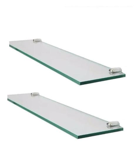 dos estantes repisa de vidrio 5mm de 60x10 con soportes