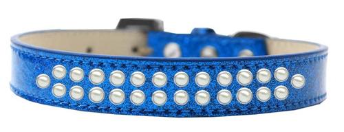 dos fila perla tamaño 12 azul hielo crema perro collar