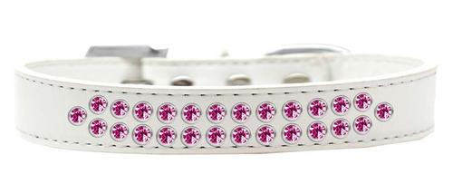 dos filas de rosa brillante cristal tamaño 12 blanco collar