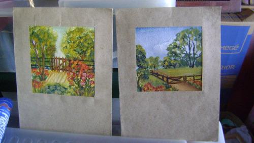 dos laminas pintadas a mano - med.9x9 y total 14x18 cm.