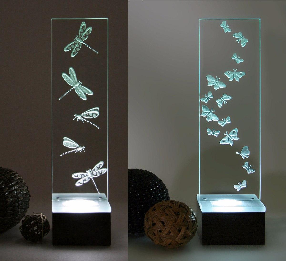 Dos l mparas modernas cristal grabado mariposa lib lulas - Lamparas mesa salon ...