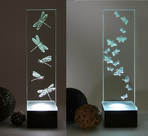 dos lmparas modernas cristal grabado mariposa liblulas