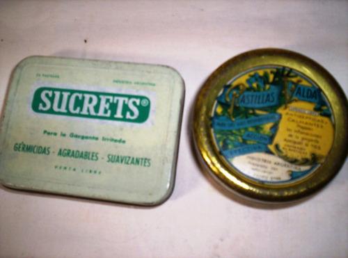 dos latas de pastillas antisepticas sucrets y valda