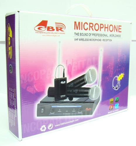 dos microfonos inalambrico de mano gbr vhf pro258 karaoke