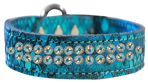dos row ab cristal jeweled dragón piel collar perro cuero g