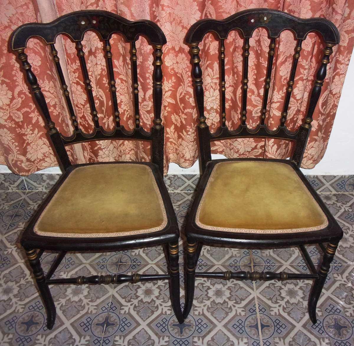 Dos sillas de estilo isabelino muy antiguas uso o - Estilos de sillas antiguas ...