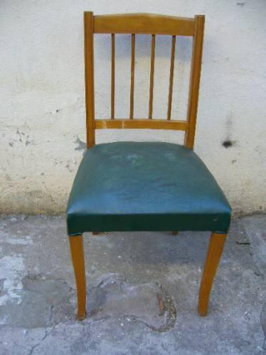 dos sillas tapizado cuerina verde