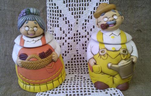 Dos tarros de cocina cerámica pareja de abuelos otto y frida ...