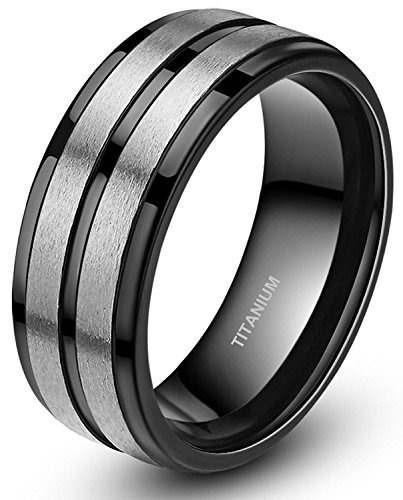 dos tonos banda negra acanalada cepillado anillos de titanio