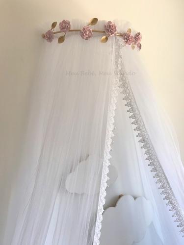 dossel parede de flor com mosquiteiro renda guipir
