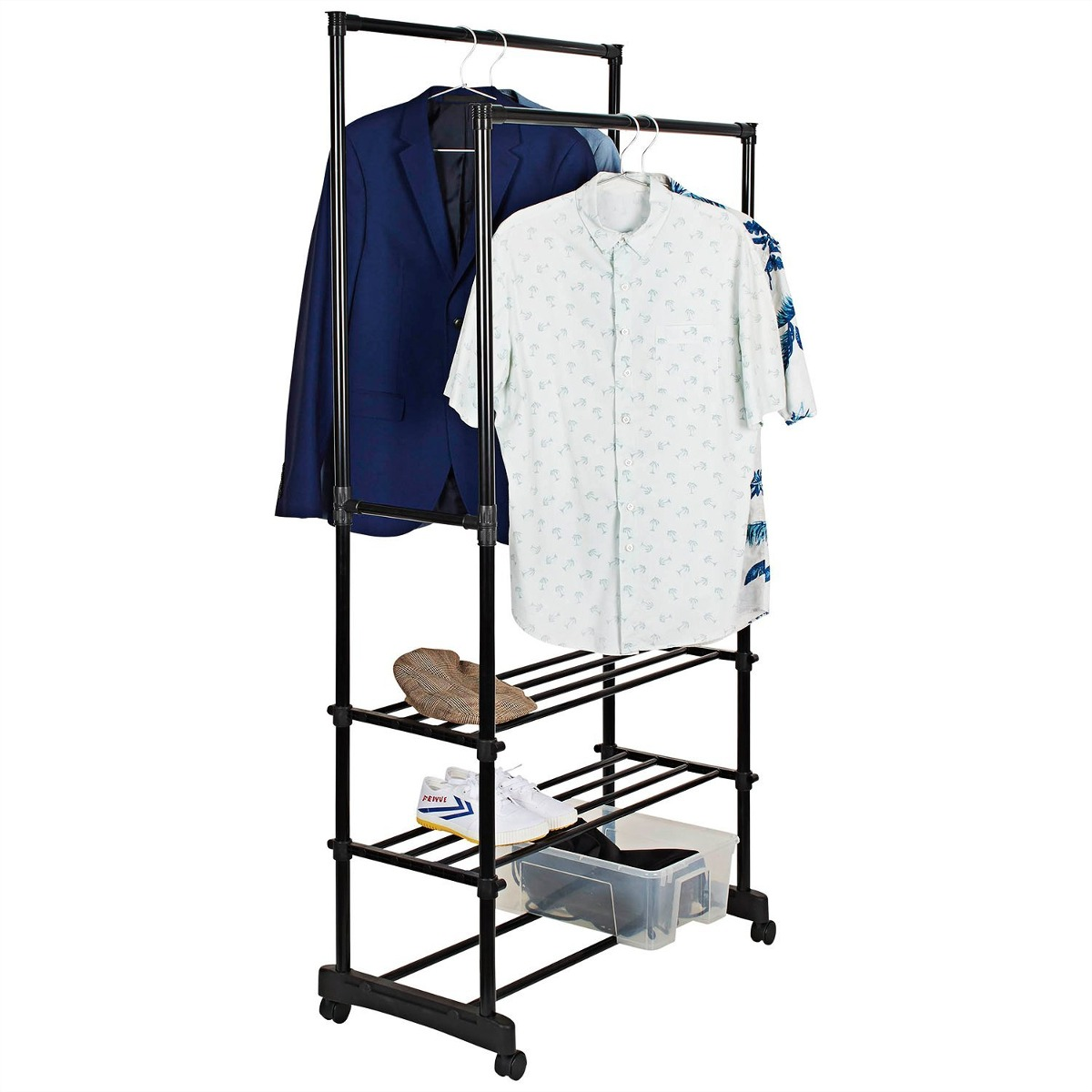Double Rod Portable Garment Clothes Rack With 2 Tiers Storag Cargando Zoom