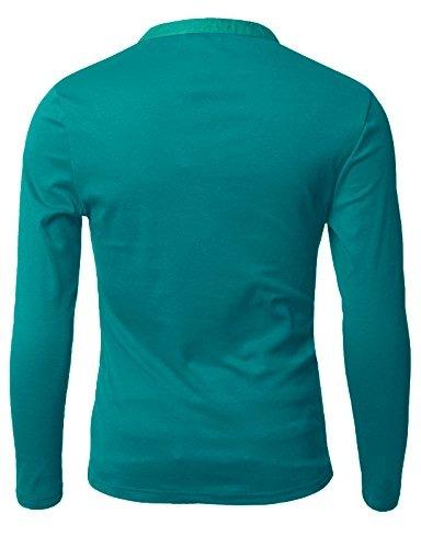 doublju mens basic slim fit camisetas de manga larga henley