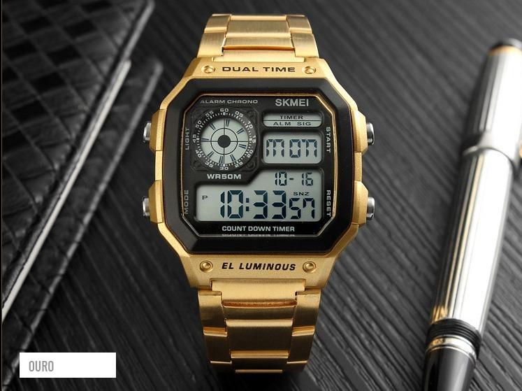 4673a68880b Dourado Relógio Skmei Masculino Digital - Compre Logo - R  69