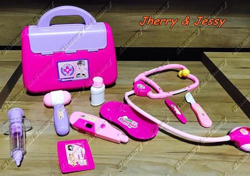 doutora brinquedos boneca + maleta com 9 itens