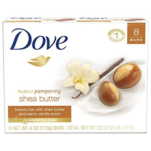 dove purely pampering beauty bar, manteca de shea 4 oz, 8 b