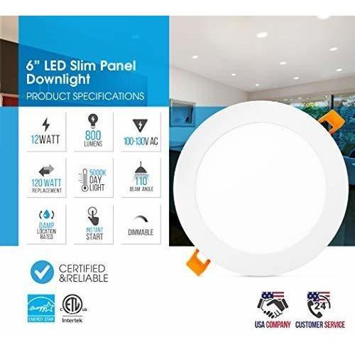downlight de panel delgado led regulable de 6 pulgadas pled-